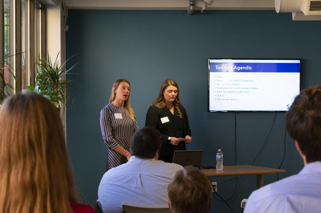 Kate Dingeldey and Megan Gomery Presenting at the GSA MAS Consolidation Event