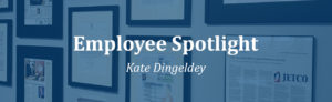 Employee Spotlight: Kate Dingeldey overlaying a photo of the JetCo office